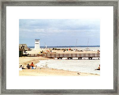 Framed Print featuring the photograph Breezy Point Bayside Frosted Glass by Maureen E Ritter