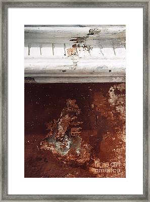 Framed Print featuring the photograph Brick Red Wall Detail by Agnieszka Kubica