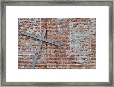 Brick Wall Cross Framed Print by Nikki Marie Smith