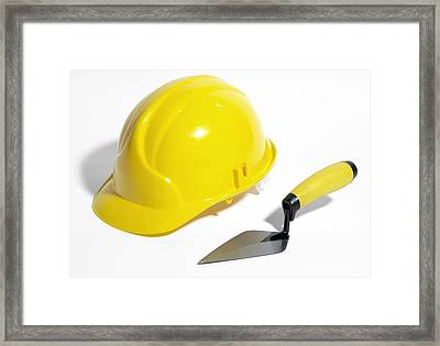 Bricklayer's Hard Hat And Trowel Framed Print by Johnny Greig