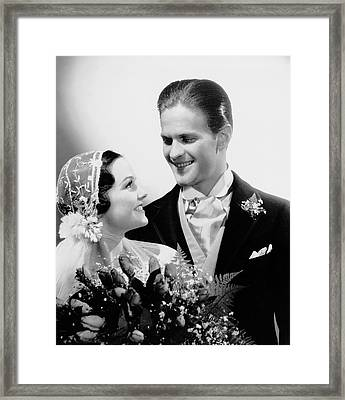 Bride & Groom Gazing At One Another Framed Print by George Marks