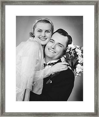 Bride And Groom, Portrait Framed Print by George Marks
