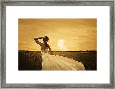 Bride In Yellow Field On Sunset  Framed Print