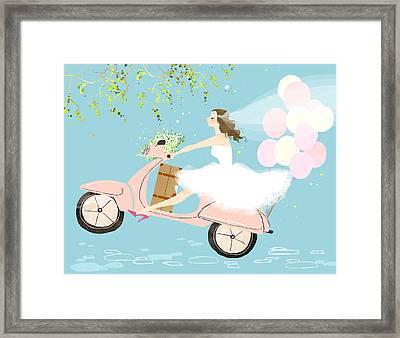Bride On Scooter Framed Print by Eastnine Inc.