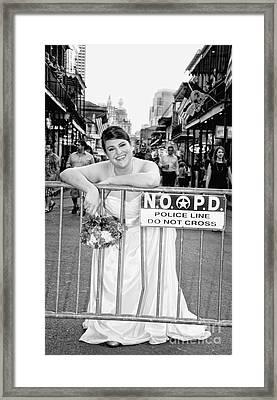 Bride On The Barricade On Bourbon St Nola Framed Print by Kathleen K Parker