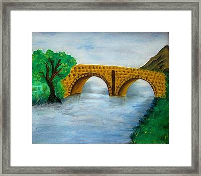 Bridge-acrylic Painting Framed Print by Rejeena Niaz
