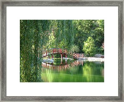 Bridge Beyond The Willows Framed Print by Kimberly Mackowski