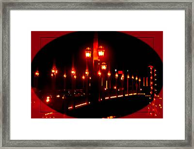 Bridge Of Lions Alit Framed Print by DigiArt Diaries by Vicky B Fuller
