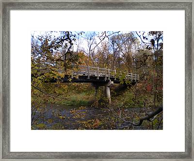 Bridge On The Sunrise River Framed Print by Kimberly Mackowski