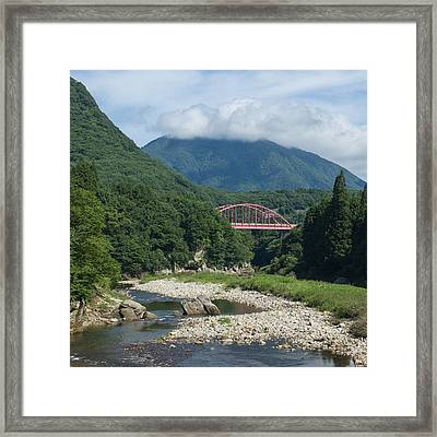 Bridge Over Lush River Gorge In Mountains Framed Print by Ippei Naoi