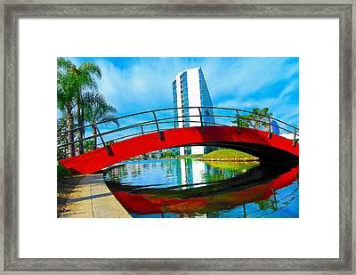 Framed Print featuring the photograph Bridge Over Rainbow Lagoon by Joseph Hollingsworth