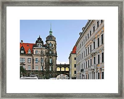 Bridge Over Taschenberg Street Dresden Framed Print by Christine Till