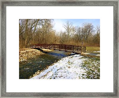 Bridge Over The Creek In Winter Framed Print by Mike Stanfield