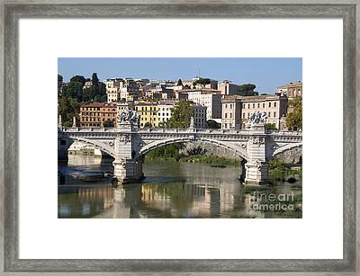 Bridge Ponte Vittorio II. River Tiber.rome Framed Print by Bernard Jaubert