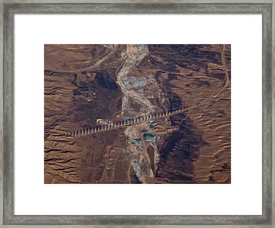Bridge Project In Gobi Desert Framed Print by Victor Gil Gazapo