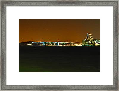 Bridge To Sand Key Framed Print by Peter  McIntosh
