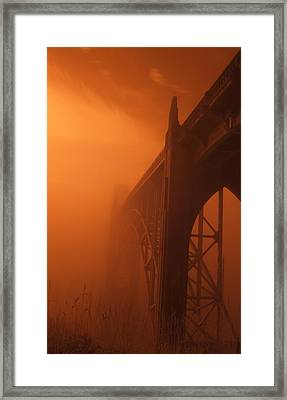 Bridge To The Mist In Red Framed Print
