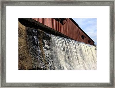 Bridgeton Covered Bridge And Waterfall No 1 Framed Print by Alan Look