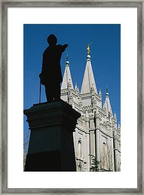 Brigham Young Statue Frames The Jesus Framed Print by Stephen St. John
