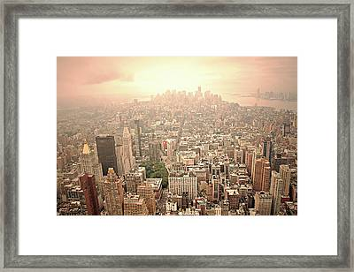 Bright Financial District In Nyc Framed Print by Daniela Duncan
