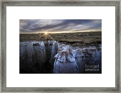 Bright Sun Setting At Coal Mine Canyon Framed Print by Darcy Michaelchuk