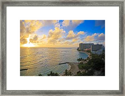 Bright Waikiki Sunset Framed Print by Tomas del Amo