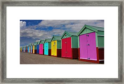 Brighton Beach Huts Framed Print by Phil Clements