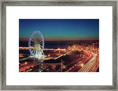 Brighton Wheel And Seafront Lit Up At Night Framed Print by PhotoMadly