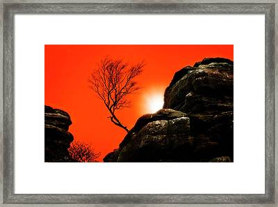 Brimham Sunset Framed Print by Meirion Matthias
