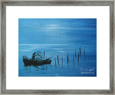 Bringing In The Nets. Framed Print
