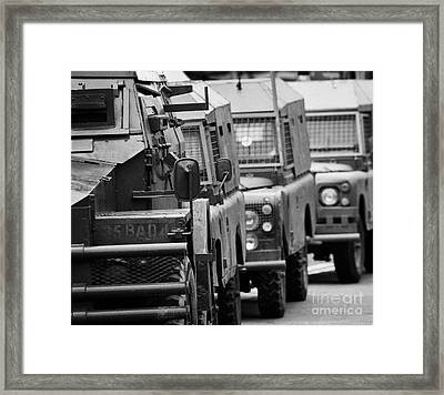 6eef0bf88c British Army And Ruc Vehicles Landrovers Belfast Northern Ireland Framed  Print by Joe Fox