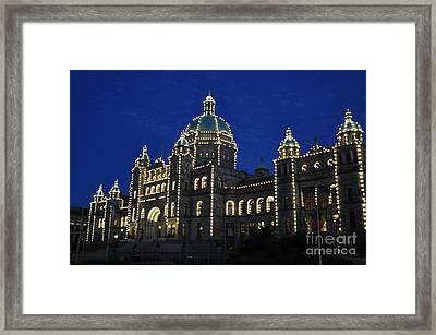 British Columbia Parliament Building At Night Framed Print by Tanya  Searcy