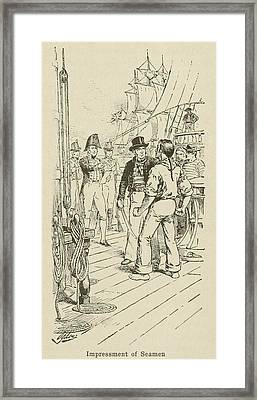 British Officers Impressing A Seaman Framed Print by Everett