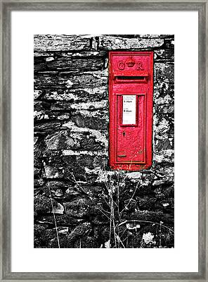 British Red Post Box Framed Print by Meirion Matthias