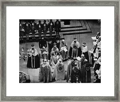 British Royalty. Center, On Throne King Framed Print by Everett