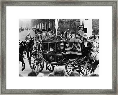 British Royalty. In Carriage, From Left Framed Print by Everett
