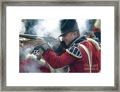 British Soldier Firing Framed Print by JT Lewis