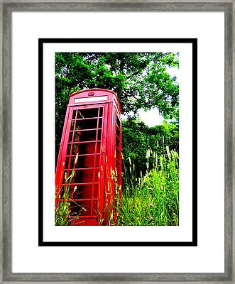 British Telephone Booth In A Field Framed Print