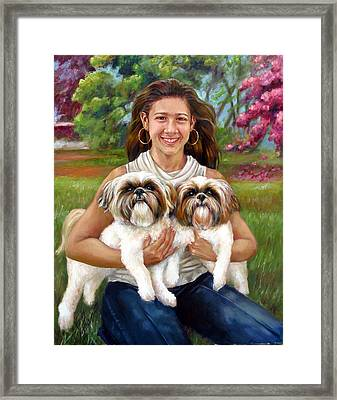 Framed Print featuring the painting Brittany And Her Shih Tzusu by Nancy Tilles
