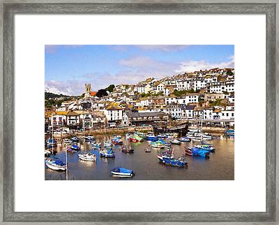 Brixham Harbour Devon Framed Print by Ian Merton