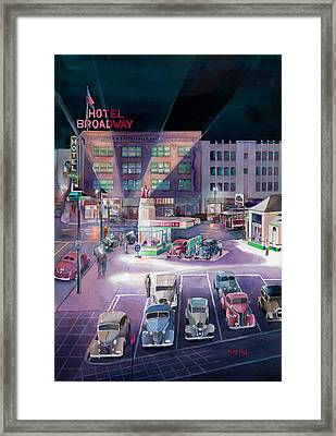 Broadway And Burnside 1941 Framed Print by Mike Hill