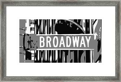 Broadway Sign Color Bw3 Framed Print by Scott Kelley