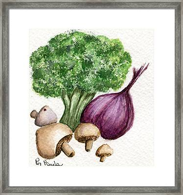 Broccoli Forest Framed Print by Paula Greenlee