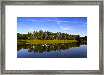 Broemmelsiek Park - Spring Reflections Framed Print by Bill Tiepelman