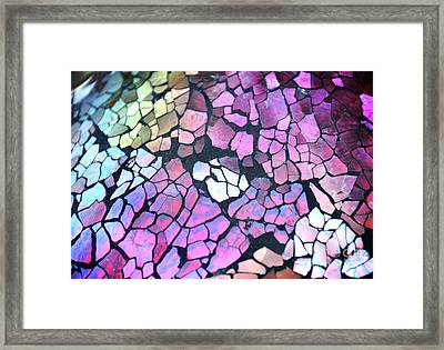 Broken Glass Mosaic Squares Framed Print by Angela Waye