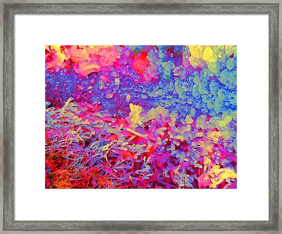 Framed Print featuring the photograph Broken Sprinkler Ice Sculpture by Ann Johndro-Collins
