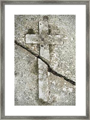 Broken Stone Cross Framed Print