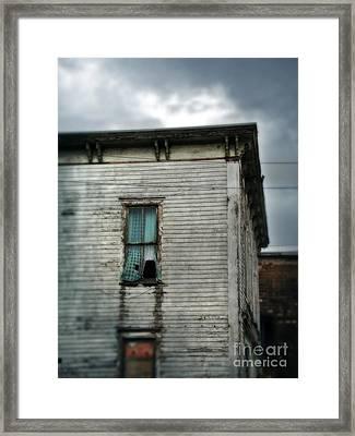 Broken Window In Abandoned House Framed Print by Jill Battaglia