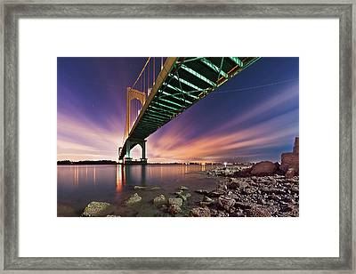 Bronx Whitestone Bridge At Dusk Framed Print by Mihai Andritoiu, 2010
