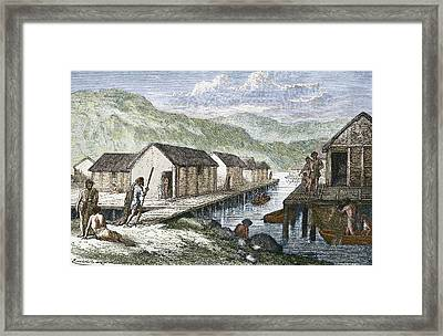 Bronze Age Village, 19th Century Artwork Framed Print by Sheila Terry